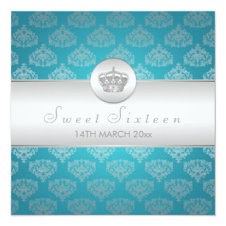 "Sweet Sixteen Party Royal Crown Blue 5.25"" Square Invitation Card"