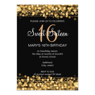 "Sweet Sixteen Party Sparkles Gold 5"" X 7"" Invitation Card"