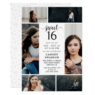 Sweet Sixteen Photo Collage Card