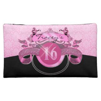 Sweet Sixteen Pink Damask Makeup Bags