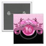 Sweet Sixteen Pink Damask Pins