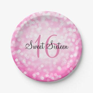 Sweet Sixteen Pink Glitter Lights Paper Plate