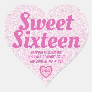 Sweet Sixteen Pink Heart Return Address Labels