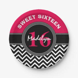 Sweet Sixteen Pink Monogram Chevron Paper Plate