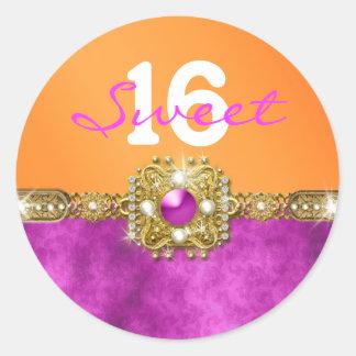 """""""sweet sixteen"""" pink orange 16 birthday classic round sticker"""