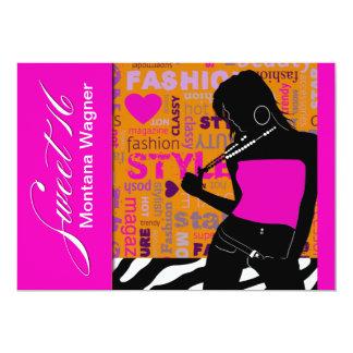 Sweet Sixteen Posh Popp Zebra hot pink | orange Card
