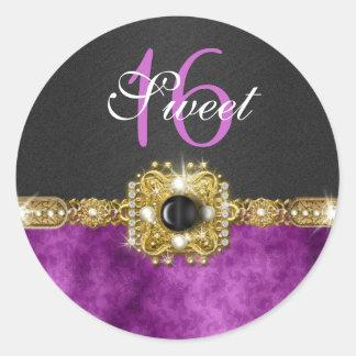 """""""sweet sixteen"""" purple black 16 birthday round sticker"""