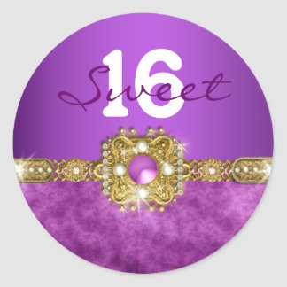 """""""sweet sixteen"""" purple gold 16 birthday 2 round sticker"""