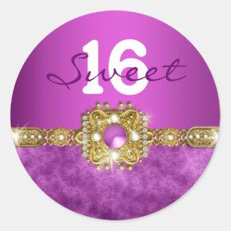 """""""sweet sixteen"""" purple gold 16 birthday round sticker"""