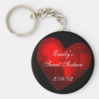 Sweet Sixteen Red Heart Party Favor Keychain