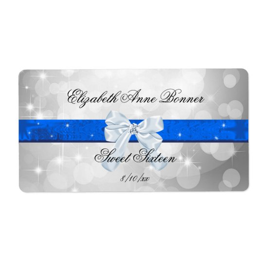 Sweet Sixteen, Silver, Blue, Faux Satin Shipping Label