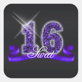 Sweet Sixteen Sparkle Purple ID119 Square Sticker