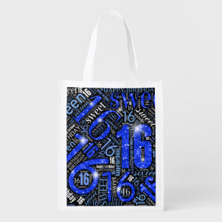Sweet Sixteen Sparkle Word Cloud Blue ID265 Reusable Grocery Bag