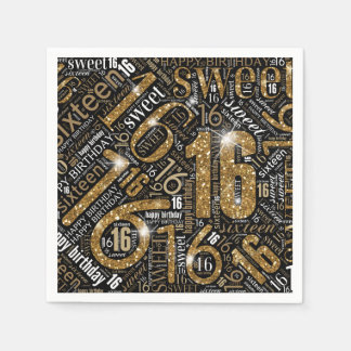 Sweet Sixteen Sparkle Word Cloud Gold ID265 Disposable Napkins
