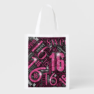 Sweet Sixteen Sparkle Word Cloud Pink ID265 Reusable Grocery Bag
