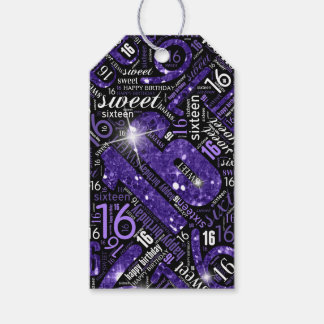 Sweet Sixteen Sparkle Word Cloud Purple ID265 Gift Tags