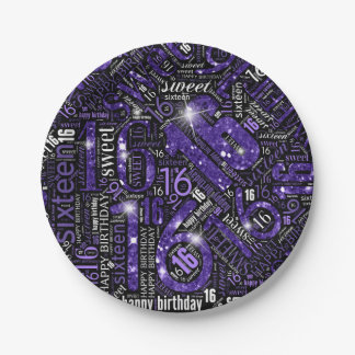 Sweet Sixteen Sparkle Word Cloud Purple ID265 Paper Plate
