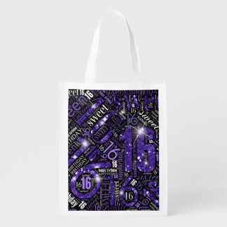 Sweet Sixteen Sparkle Word Cloud Purple ID265 Reusable Grocery Bag