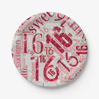 Sweet Sixteen Sparkle Word Cloud Red ID265 Paper Plate