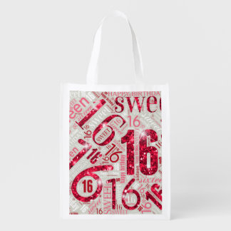 Sweet Sixteen Sparkle Word Cloud Red ID265 Reusable Grocery Bag