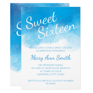 "Sweet Sixteen Summer Blue Watercolor 5"" X 7"" Invitation Card"