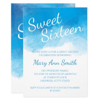 Sweet Sixteen Summer Blue Watercolor Card