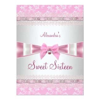 """Sweet Sixteen Sweet 16 16th Birthday Party Pink 6.5"""" X 8.75"""" Invitation Card"""