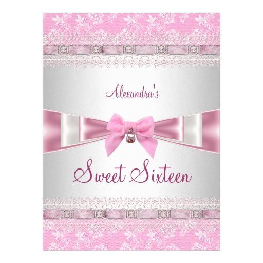 Sweet Sixteen Sweet 16 16th Birthday Party Pink Custom Announcement