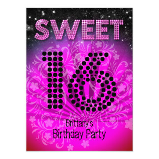 """Sweet Sixteen Sweet 16 Party Hot Pink Black 6.5"""" X 8.75"""" Invitation Card"""