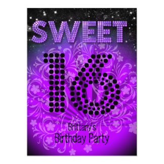 "Sweet Sixteen Sweet 16 Party Hot Purple Black 6.5"" X 8.75"" Invitation Card"