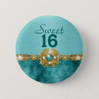 """sweet sixteen"" teal gold 16 birthday 2 inch round button"