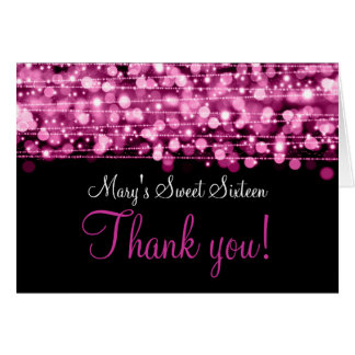 Sweet Sixteen Thank You Party Sparkles Pink Card