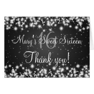 Sweet Sixteen Thank You Winter Sparkle Black Card