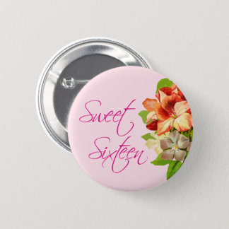 sweet sixteen typography Floral Button