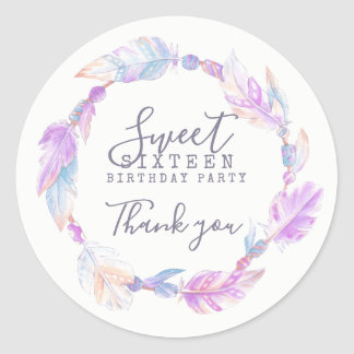 Sweet Sixteen watercolor art sticker