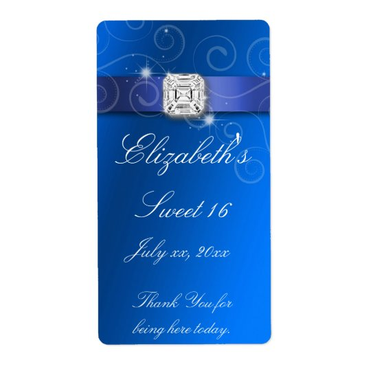 Sweet Sixteen Wedding Water Bottle Label BlueWhite