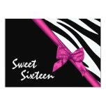 "Sweet Sixteen Zebra and Ribbon Pink 5"" X 7"" Invitation Card"