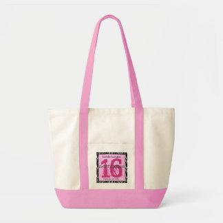 Sweet Sixteen Zebra Birthday Celebration Gift V07B Canvas Bag
