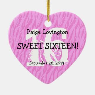Sweet Sixteen Zebra Birthday Celebration Gift V10A Ceramic Heart Ornament