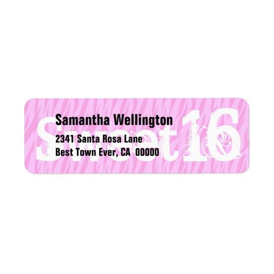 Sweet Sixteen Zebra Birthday Paper Product Return Address Label