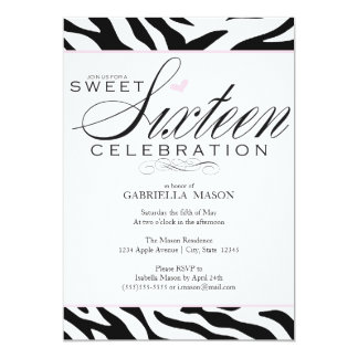 Sweet Sixteen Zebra Print Card