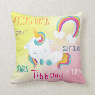 Sweet Sleeping Unicorn Rainbow Design Throw Pillow