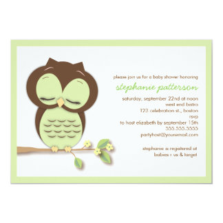 Sweet Sleepy Green Owl Neutral Baby Shower 5x7 Paper Invitation Card