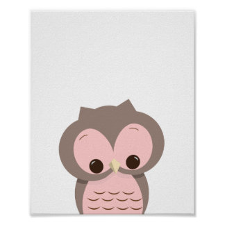 Sweet Sleepy Owl in Pink Nursery Wall Decor
