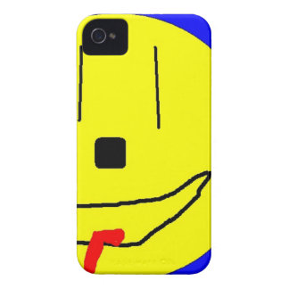 Sweet Smiley Emoji,  Yellow Blue, Art By Kids :) iPhone 4 Covers