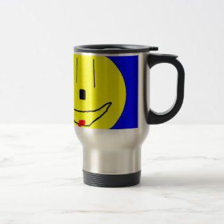 Sweet Smiley Emoji,  Yellow Blue, Art By Kids :) Travel Mug