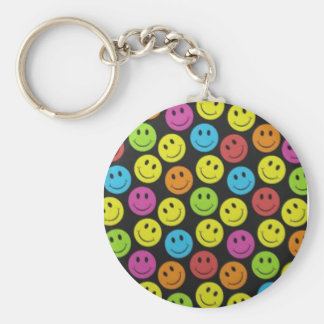 Sweet Smiley Face Basic Round Button Keychain