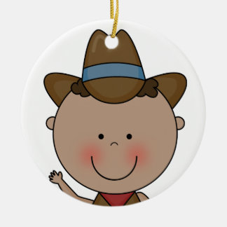 Sweet Smiling Baby Boy Western Cowboy Keepsake Ceramic Ornament