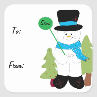 Sweet Smiling Frosty Snowman Square Sticker