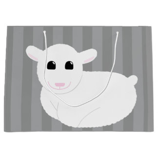 Sweet Smiling Lamb Drawing with Stripes Large Gift Bag